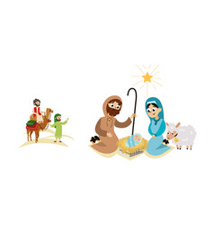Christmas nativity bethlehem crib story scene vector