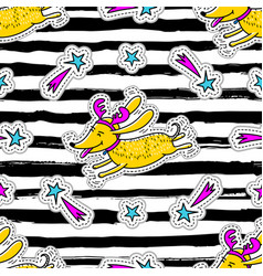 Christmas striped seamless pattern cartoon dog vector