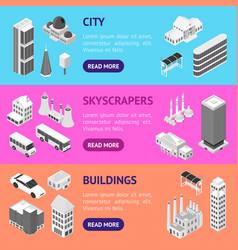 city map concept banner horizontal set 3d vector image