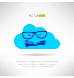 Cloud library sign with book face inside vector