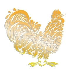 Cockerel golden decorative rooster vector