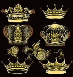 collection heraldic golden crowns vector image
