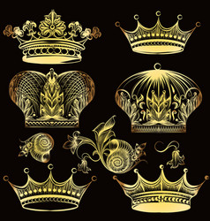 Collection of heraldic golden crowns vector