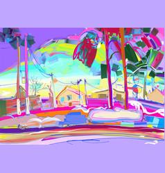 Colorful original digital painting rural winter vector