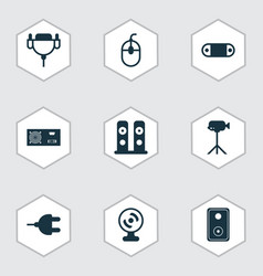 computer icons set with wireless speaker audio vector image