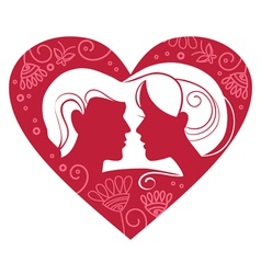 couple in floral heart vector image