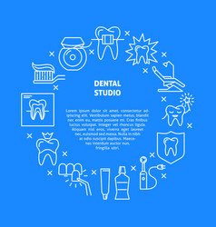 Dental studio round concept banner in thin line vector