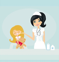 Doctor giving girl checkup vector