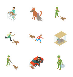 Dog protection icons set isometric style vector