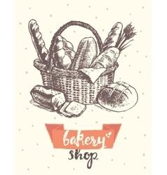 Draw vintage basket fresh bread bakery shop vector image