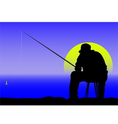 Fishing at dawn vector