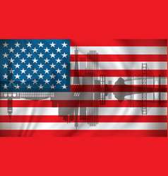 flag of usa with san francisco skyline vector image