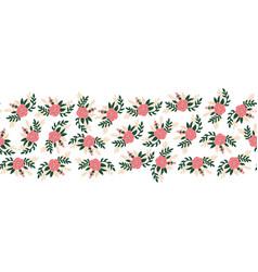 flat flowers seamless border horizontal vector image