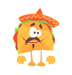 Funny cartoon mexican taco character with meat and vector