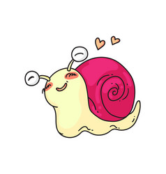 funny snail in love isolated cute snail vector image