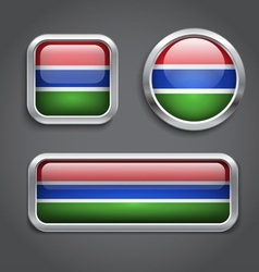 Gambia flag glass buttons vector image