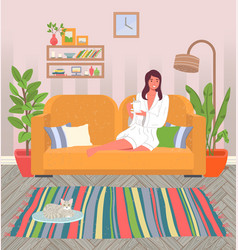girl at home on couch in a bathrobe vector image