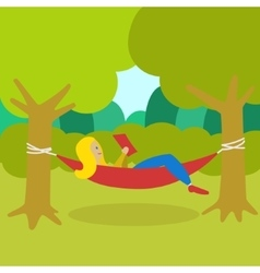 Girl resting in a hammock and reading book vector image