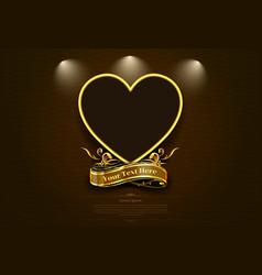 gold frame border retro picture valentine vector image