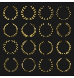 Golden laurel wreaths vector