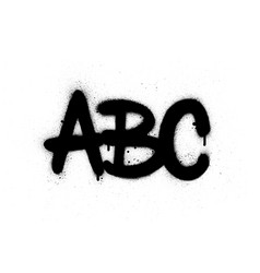 graffiti abc text sprayed in black over white vector image