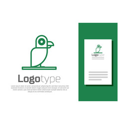 Green line pirate parrot icon isolated on white vector