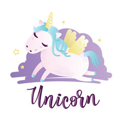 Greeting card with unicorn inscription vector