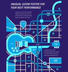 Guitar map blue vector