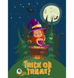 Halloween with witch and crafting pot vector