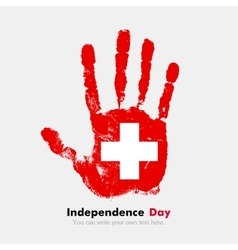 Handprint with the Swiss flag in grunge style vector