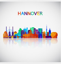 hannover skyline silhouette in colorful geometric vector image
