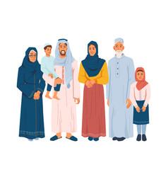 happy muslim family parents kids grandparents vector image