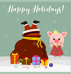 Happy new year and merry christmas cute pig vector
