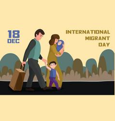 International migrant day concept banner cartoon vector