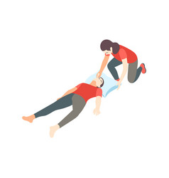 Isometric first aid composition vector