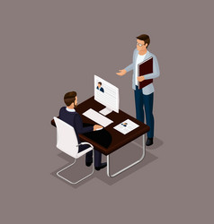 isometric set business people vector image