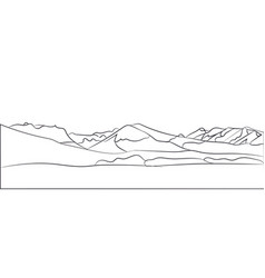 landscape mountains lines vector image