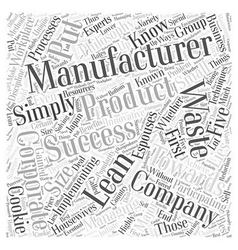 lean manufacturing success Word Cloud Concept vector image