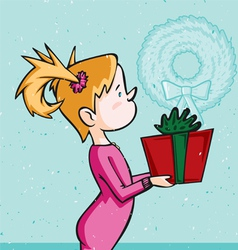 little blonde girl holding christmas present vector image