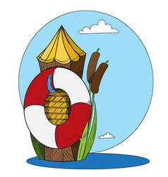 log and a life buoy in the water cartoon drawing vector image