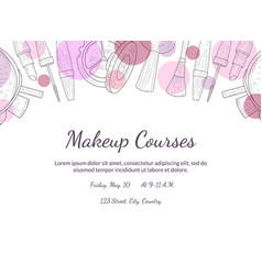 Makeup courses banner template with place for your vector