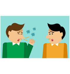 man coughs and love afraid virus vector image