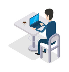 man work with computer design flat cup of coffee vector image