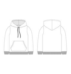 Men hoodie technical sketch mockup template hoody vector