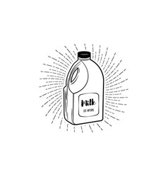 milk bottle icon on white background vector image
