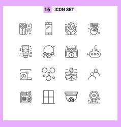 Modern set 16 outlines and symbols vector