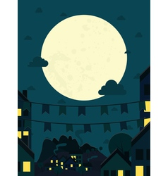 Night small town with big moon vector image