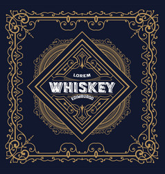 old whiskey label and vintage frame vector image