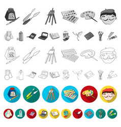 Painter and drawing flat icons in set collection vector