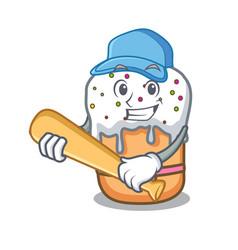 Playing baseball easter cake character cartoon vector